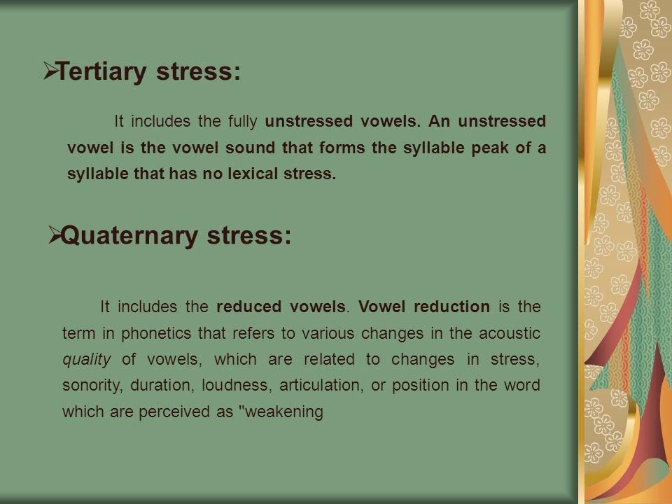 Tertiary stress: Quaternary stress: