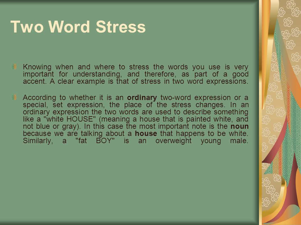 Two Word Stress