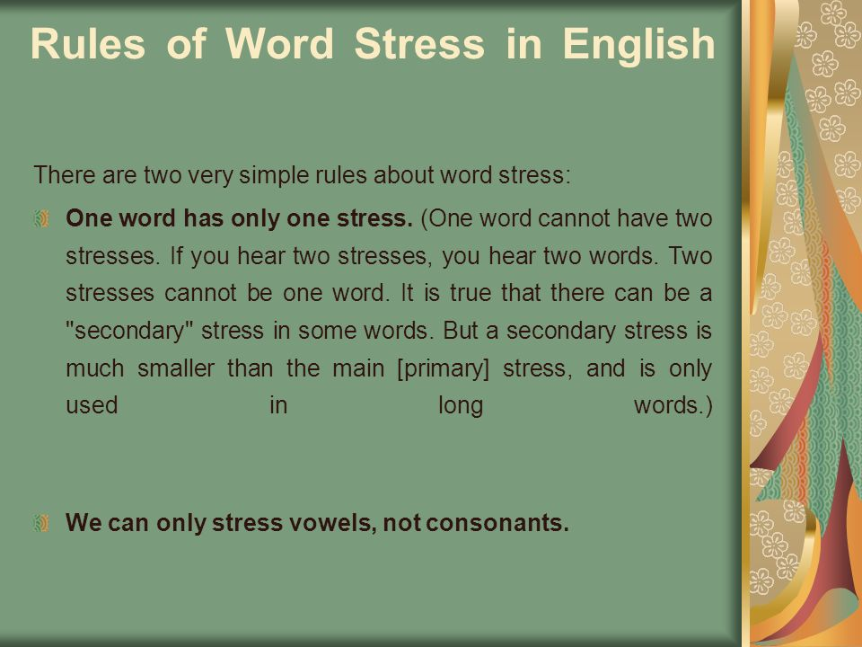 Rules of Word Stress in English