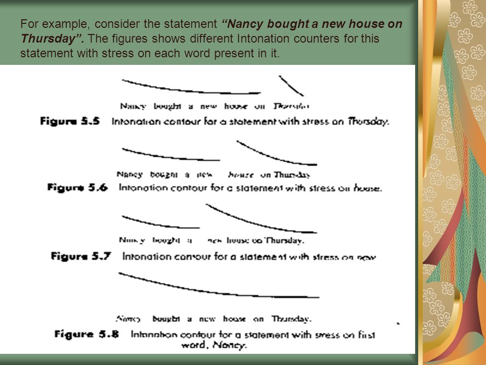 For example, consider the statement Nancy bought a new house on Thursday .