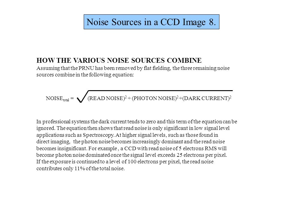Noise Sources in a CCD Image 8.