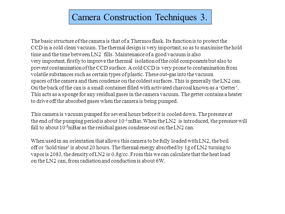 Camera Construction Techniques 3.