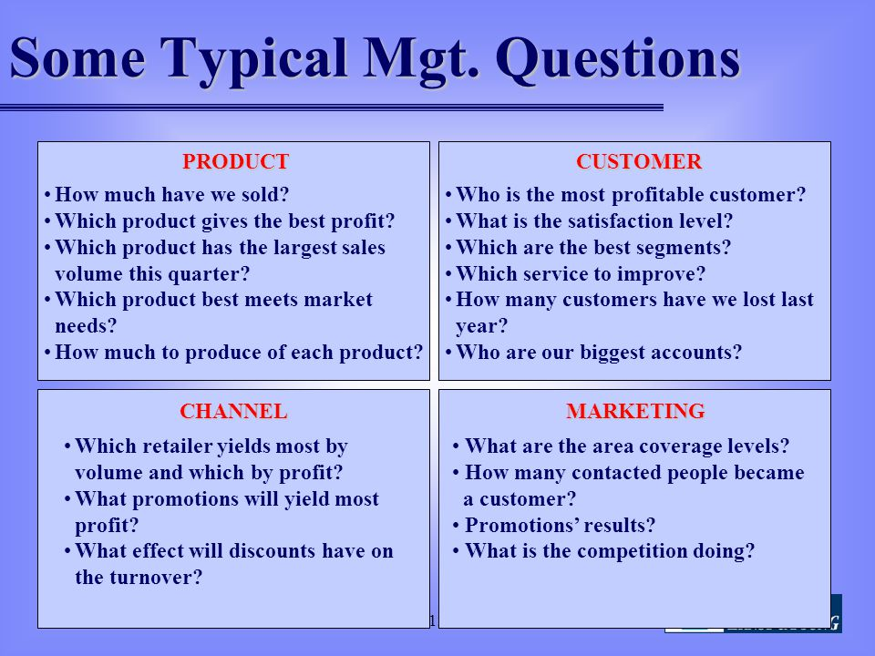 Some Typical Mgt. Questions