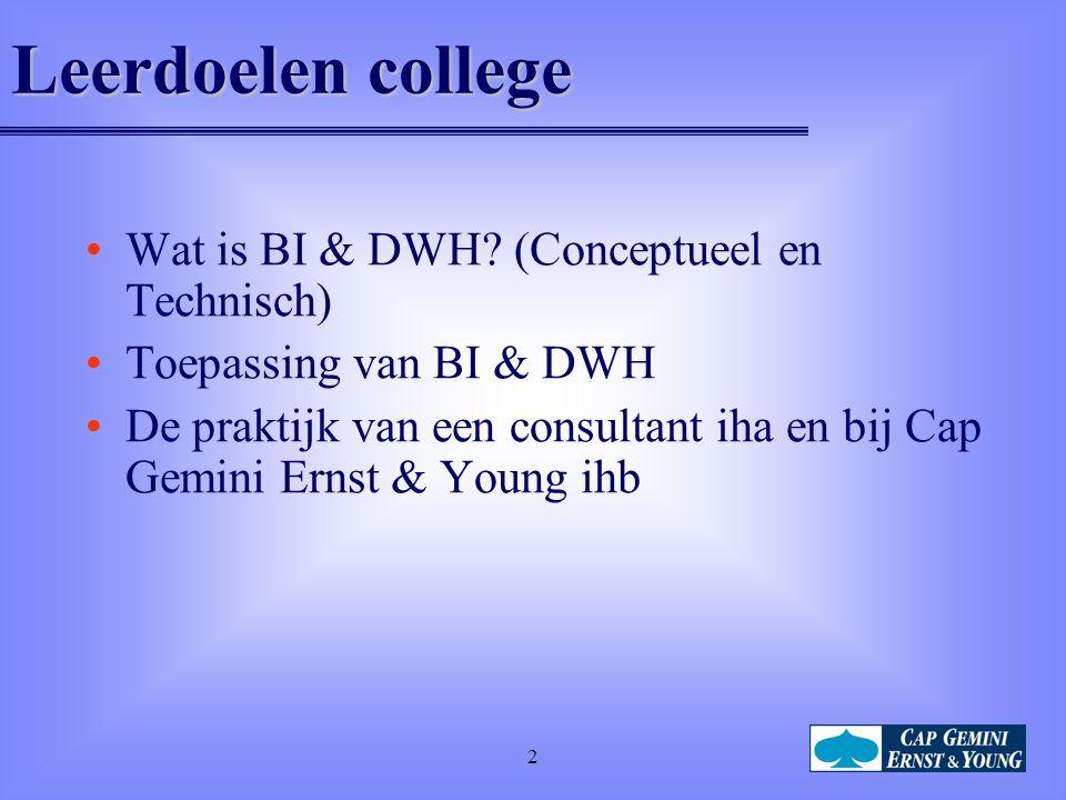 Leerdoelen college Wat is BI & DWH (Conceptueel en Technisch)