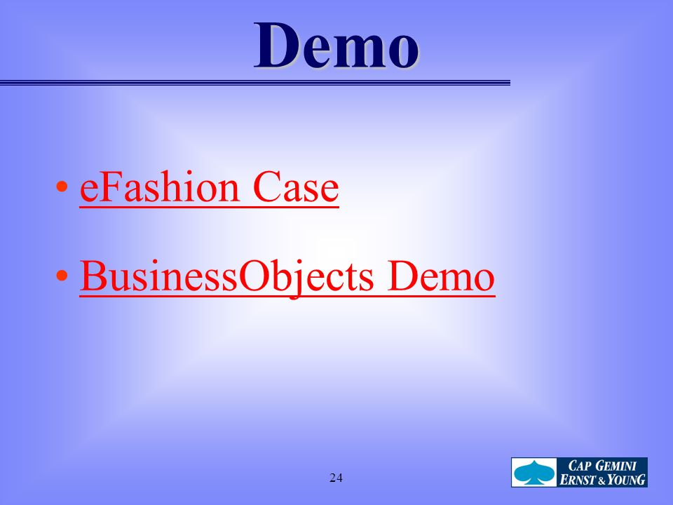 Demo eFashion Case BusinessObjects Demo 24