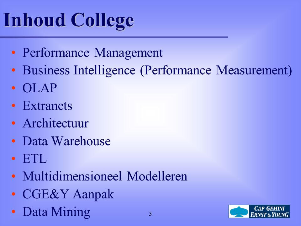 Inhoud College Performance Management