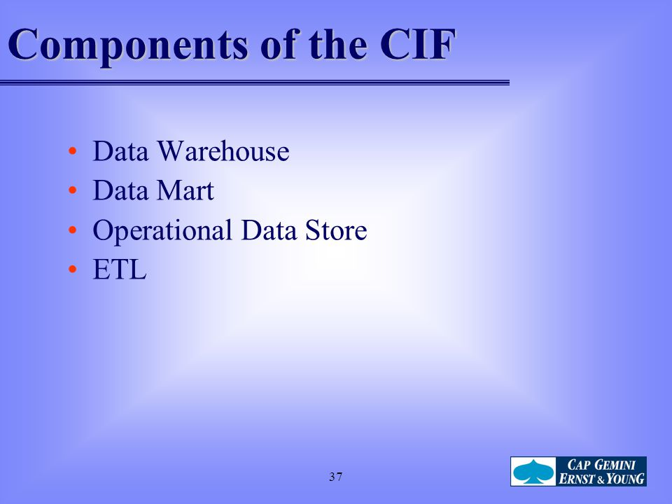 Components of the CIF Data Warehouse Data Mart Operational Data Store