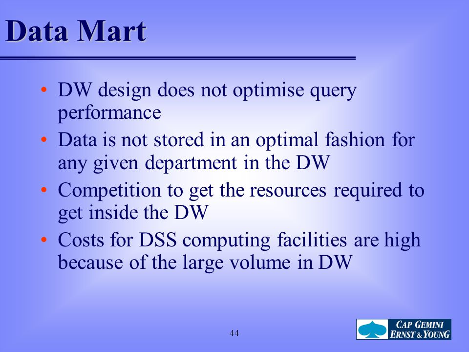Data Mart DW design does not optimise query performance