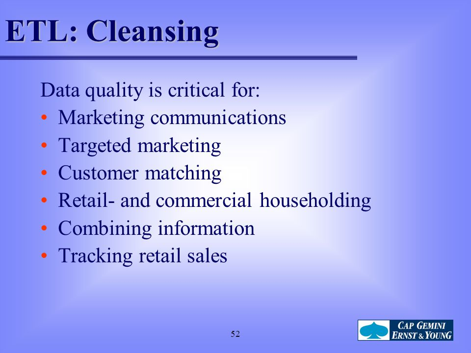 ETL: Cleansing Data quality is critical for: Marketing communications
