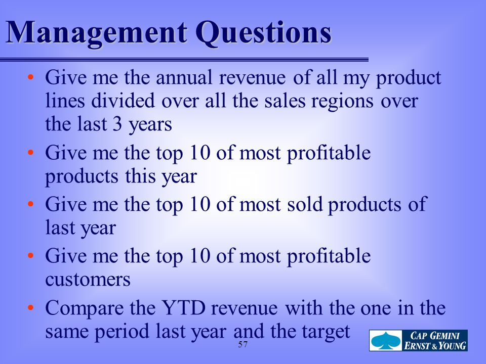 Management Questions Give me the annual revenue of all my product lines divided over all the sales regions over the last 3 years.