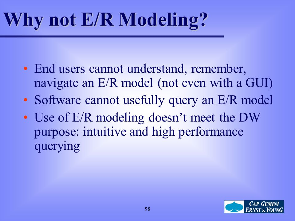 Why not E/R Modeling End users cannot understand, remember, navigate an E/R model (not even with a GUI)