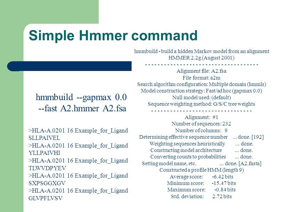 Simple Hmmer command hmmbuild --gapmax 0.0 --fast A2.hmmer A2.fsa