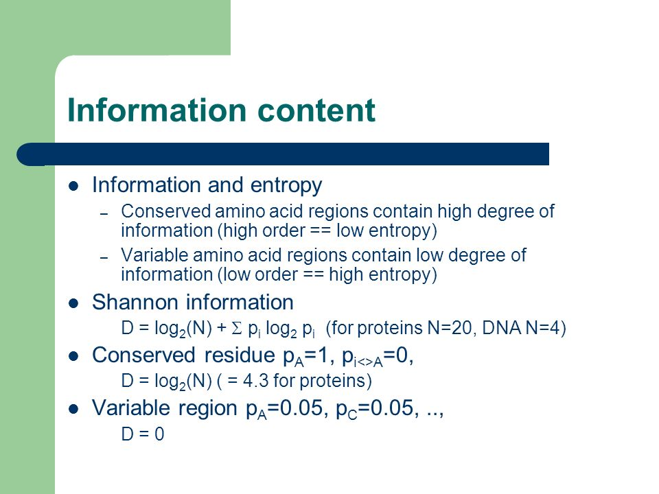 Information content Information and entropy Shannon information