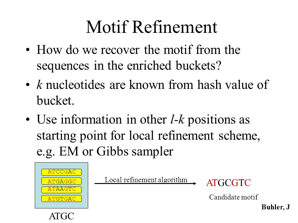 Motif Refinement How do we recover the motif from the sequences in the enriched buckets k nucleotides are known from hash value of bucket.