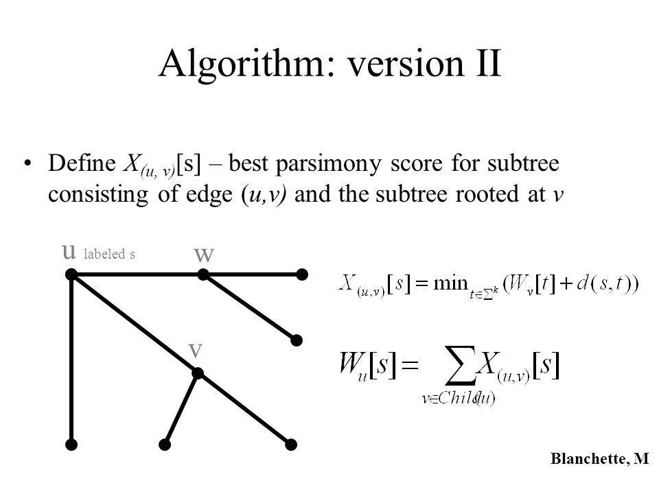 Algorithm: version II u labeled s w v