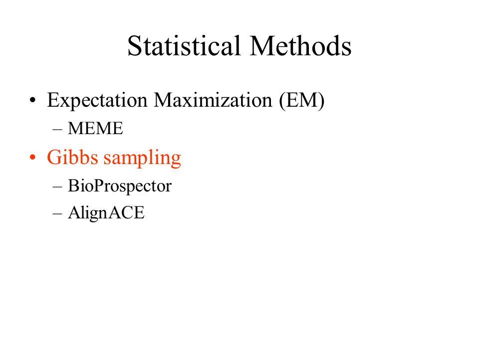 Statistical Methods Expectation Maximization (EM) Gibbs sampling MEME