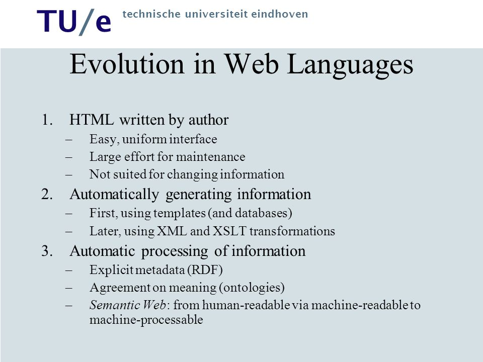 Evolution in Web Languages