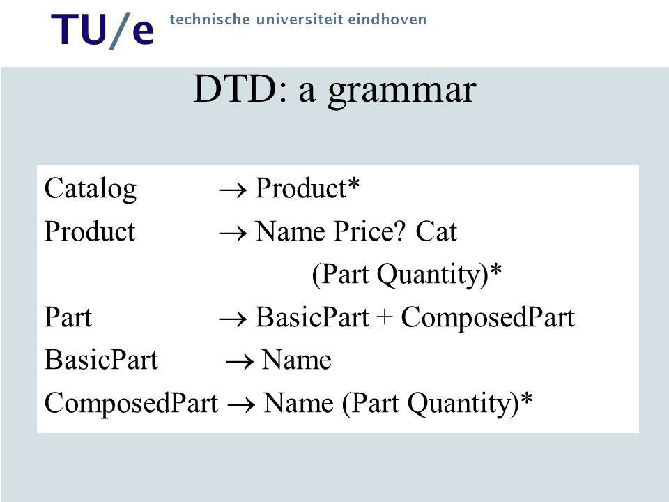 DTD: a grammar Catalog  Product* Product  Name Price Cat