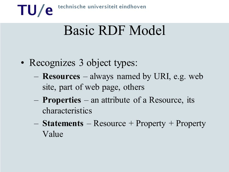 Basic RDF Model Recognizes 3 object types: