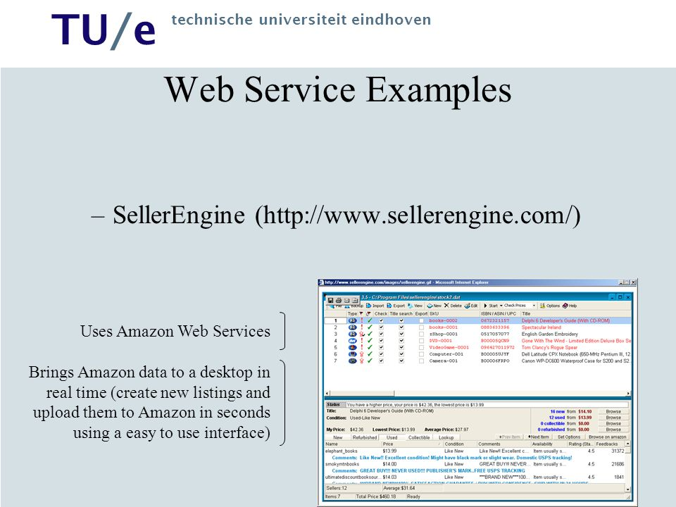 Web Service Examples SellerEngine (http://www.sellerengine.com/)