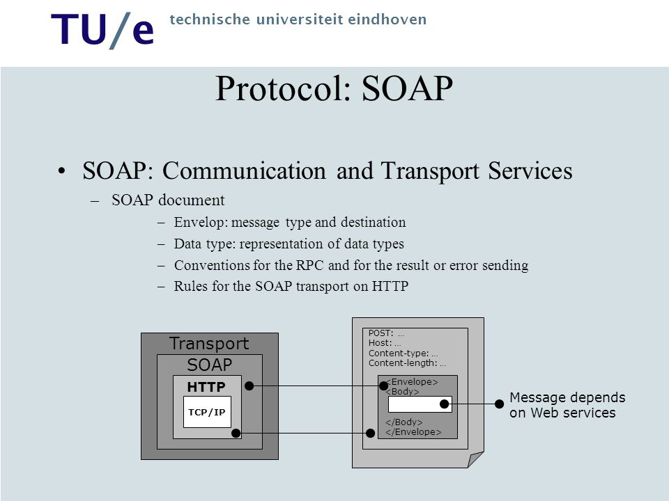 Protocol: SOAP SOAP: Communication and Transport Services