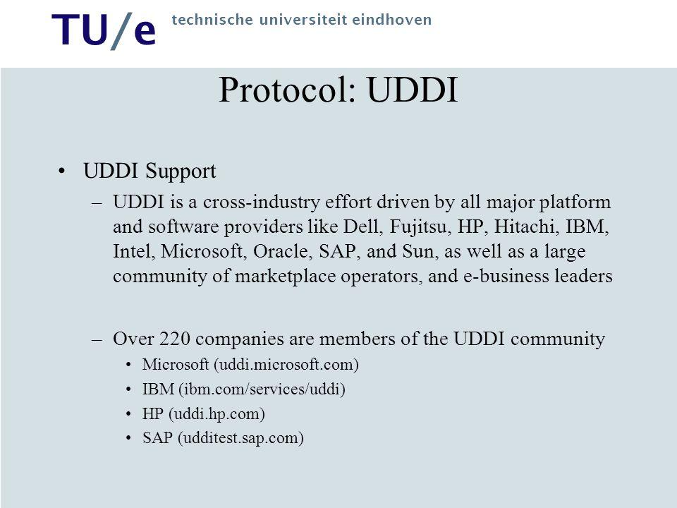 Protocol: UDDI UDDI Support
