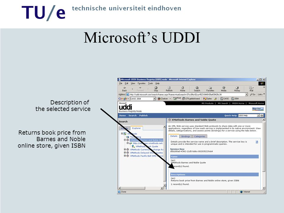 Microsoft's UDDI Description of the selected service