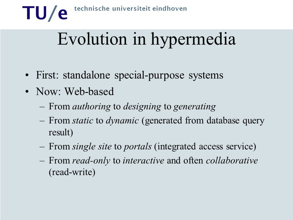 Evolution in hypermedia