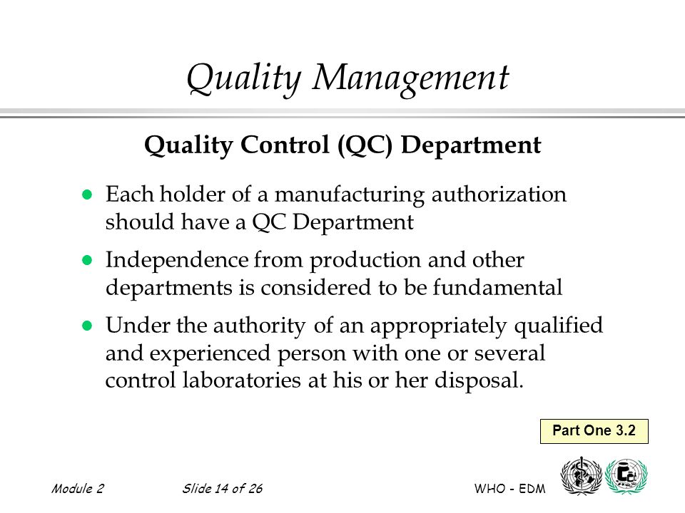 Quality Control (QC) Department