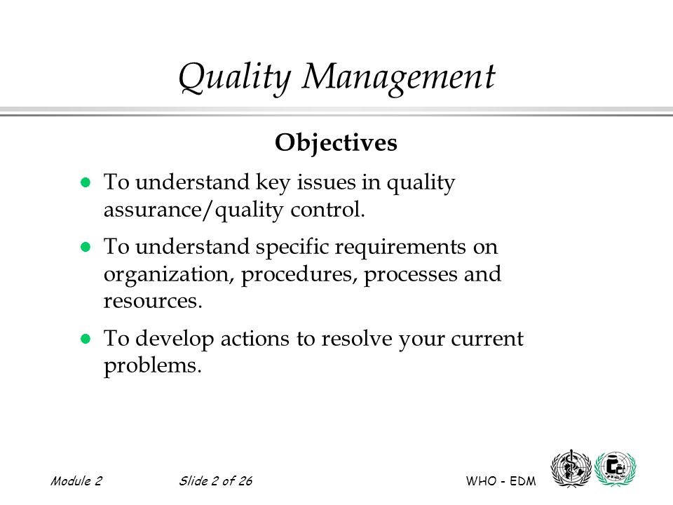 Quality Management Objectives