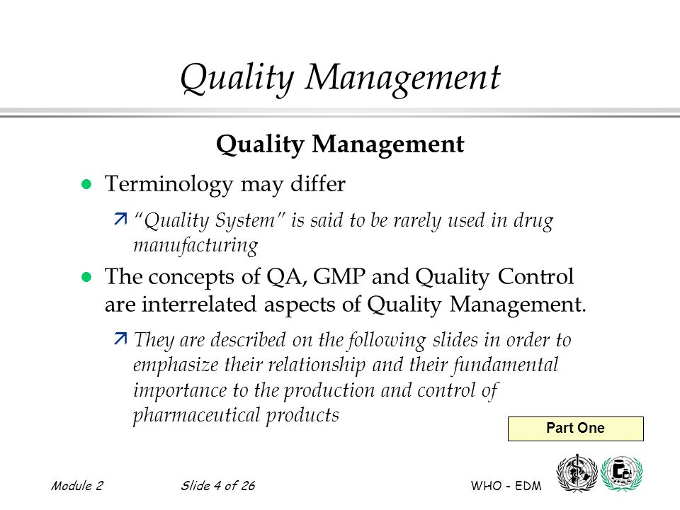 Quality Management Quality Management Terminology may differ