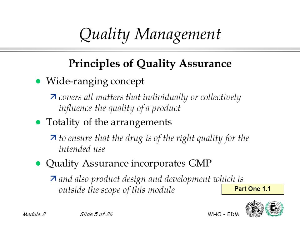 Principles of Quality Assurance
