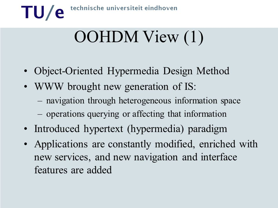 OOHDM View (1) Object-Oriented Hypermedia Design Method