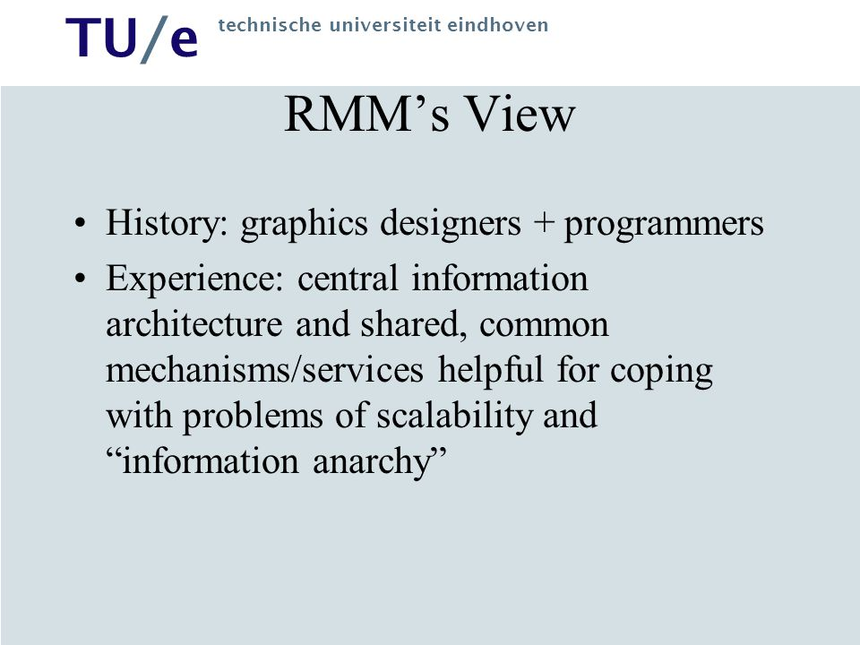 RMM's View History: graphics designers + programmers