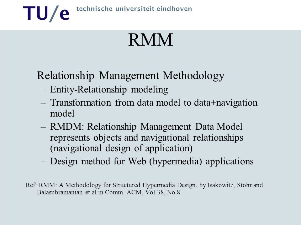 RMM Relationship Management Methodology Entity-Relationship modeling