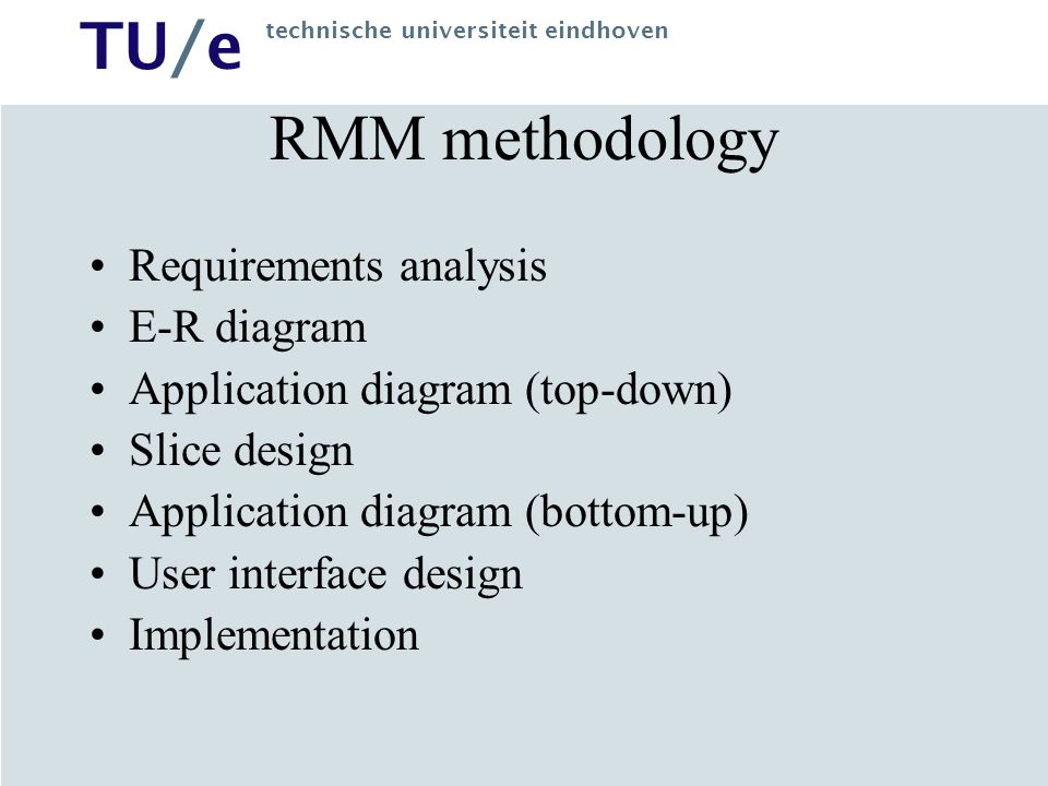 RMM methodology Requirements analysis E-R diagram