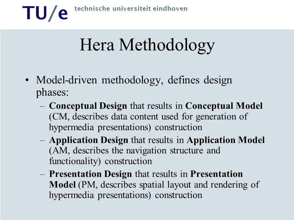 Hera Methodology Model-driven methodology, defines design phases: