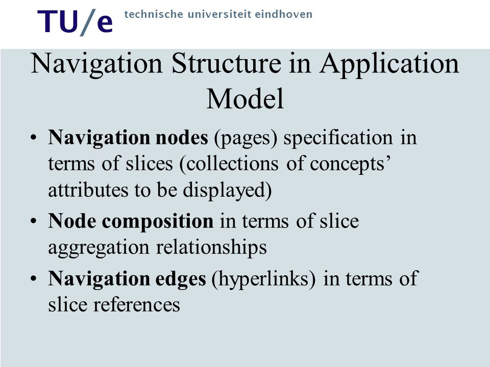 Navigation Structure in Application Model