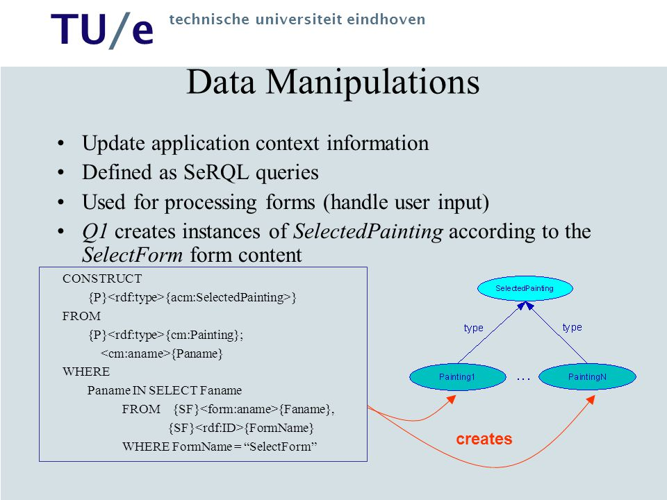 Data Manipulations Update application context information