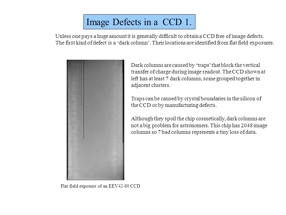 Image Defects in a CCD 1. Unless one pays a huge amount it is generally difficult to obtain a CCD free of image defects.