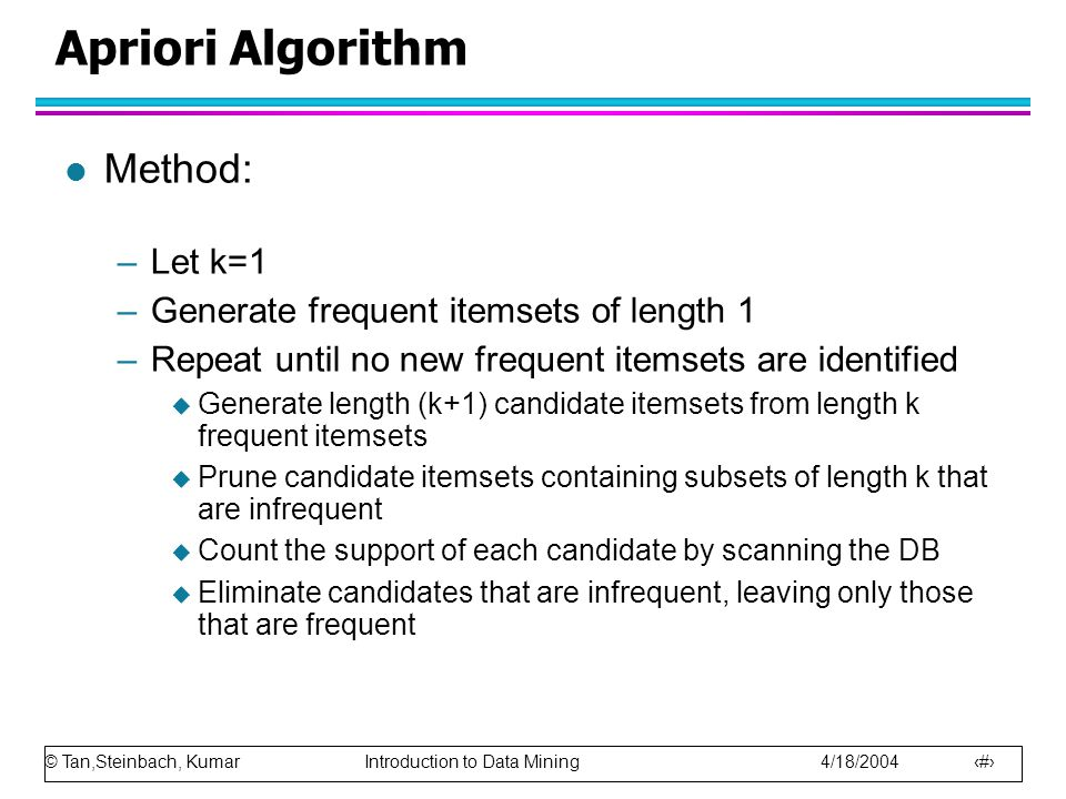 Apriori Algorithm Method: Let k=1