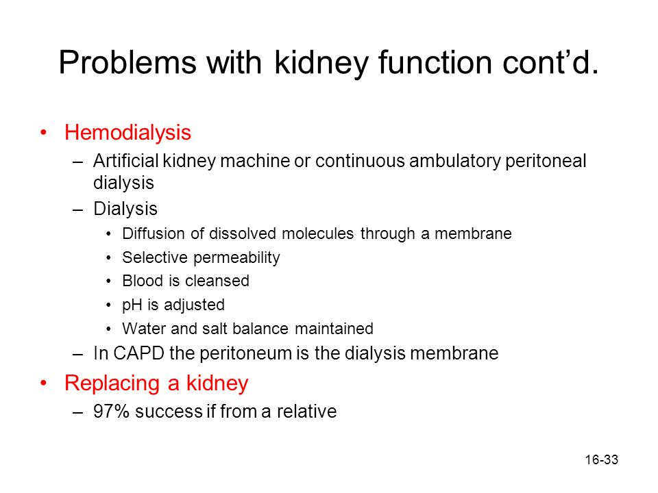 Problems with kidney function cont'd.