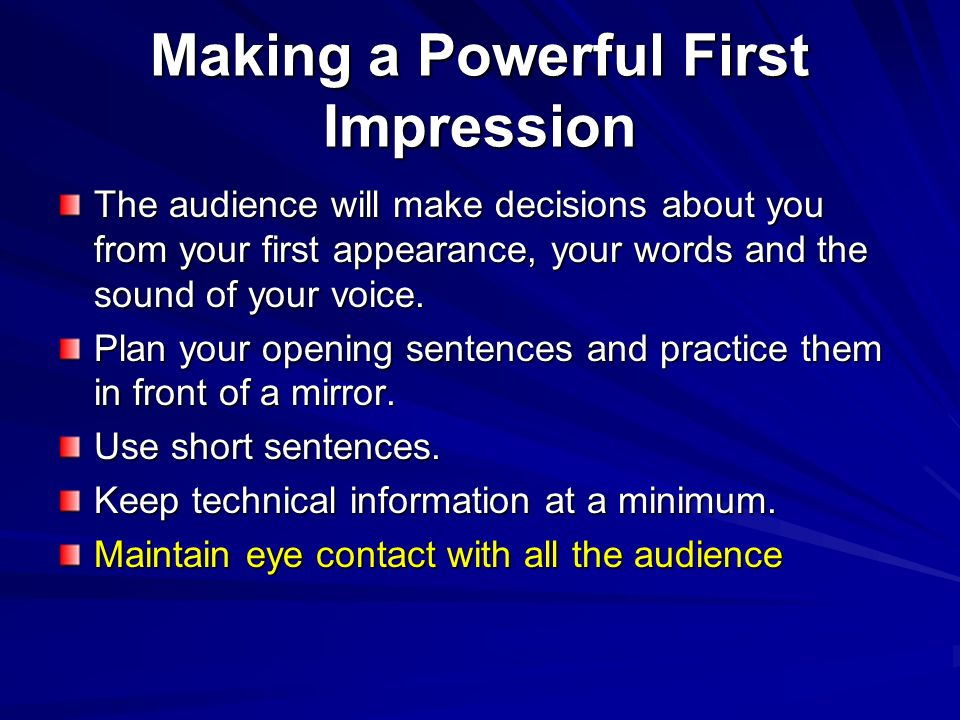 Making a Powerful First Impression