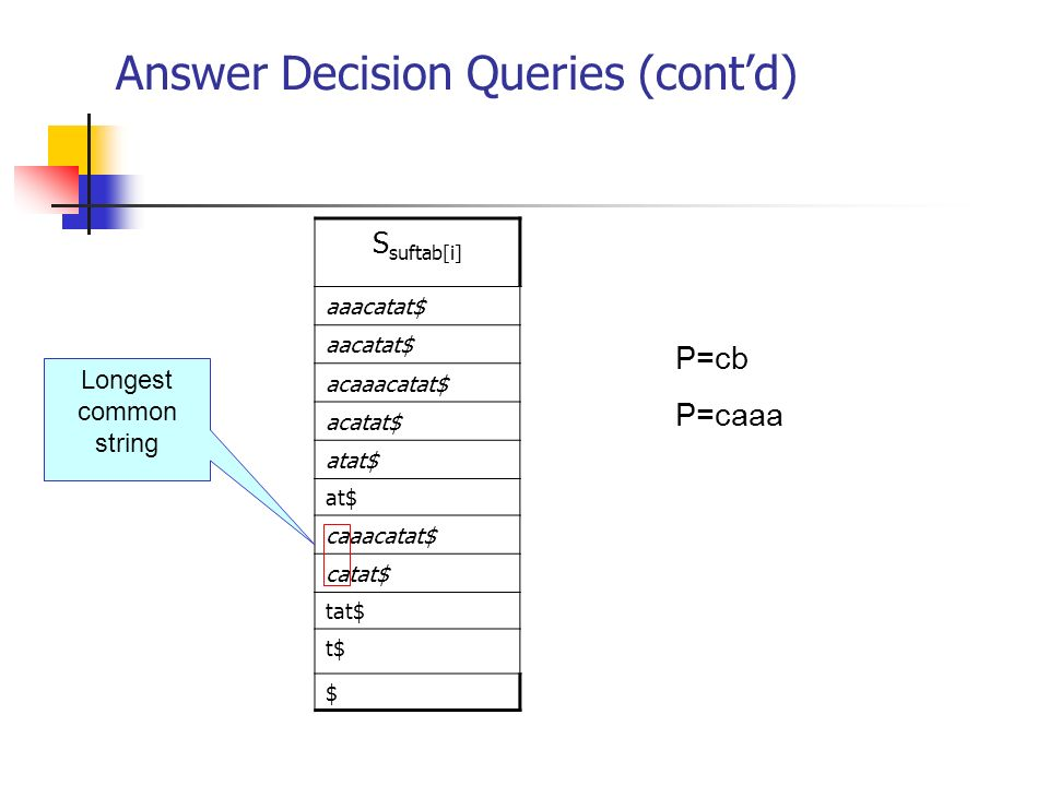 Answer Decision Queries (cont'd)