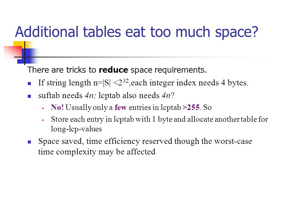 Additional tables eat too much space