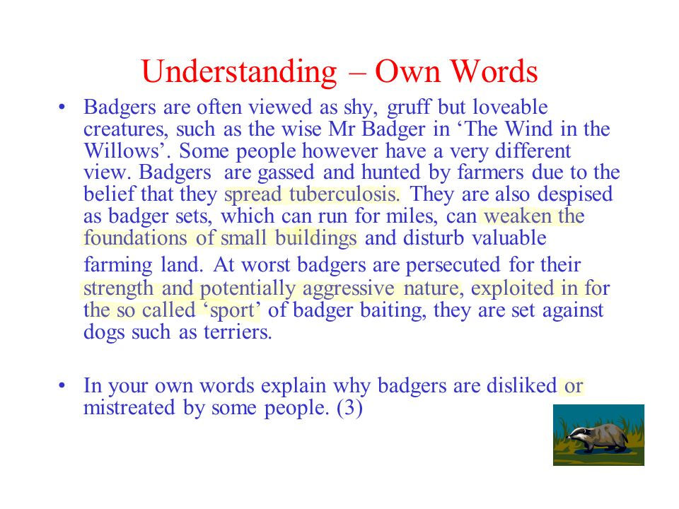 Understanding – Own Words
