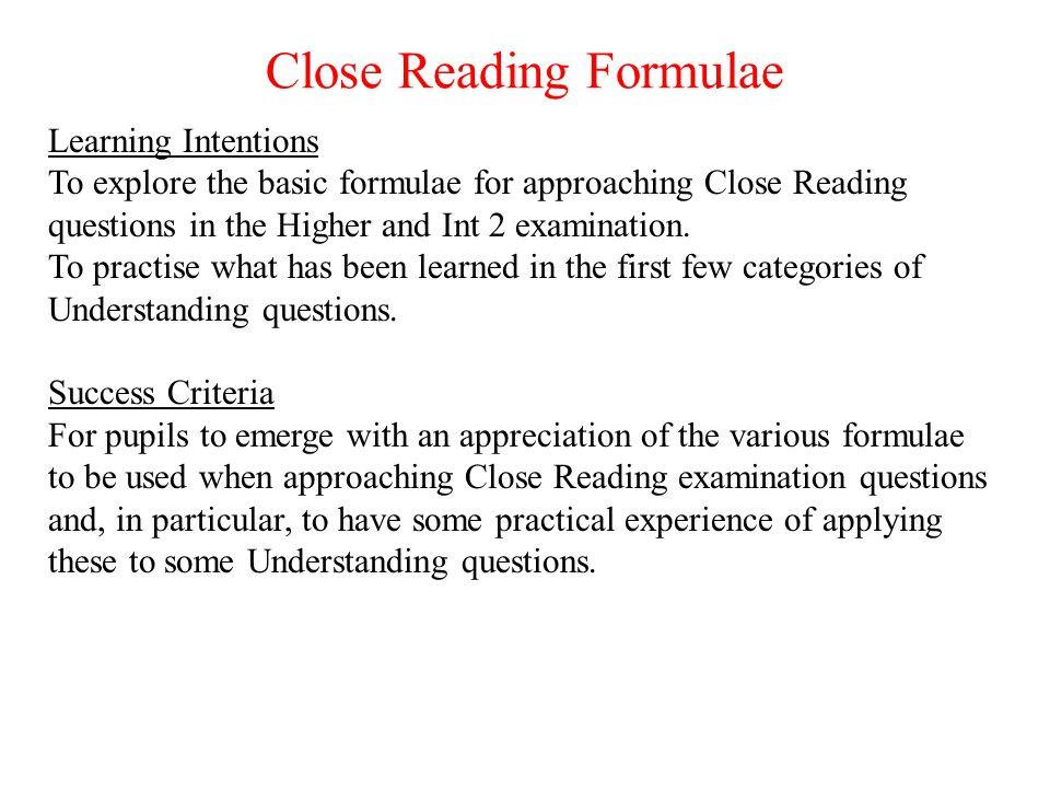 Close Reading Formulae