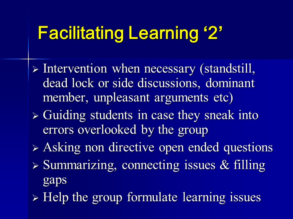 Facilitating Learning '2'