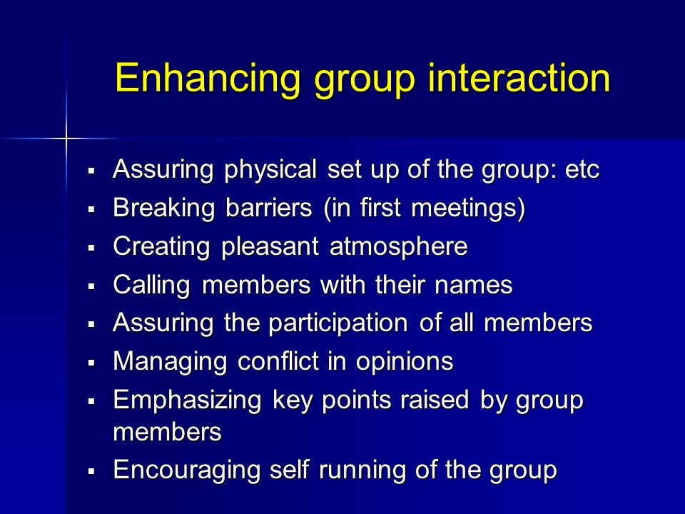 Enhancing group interaction