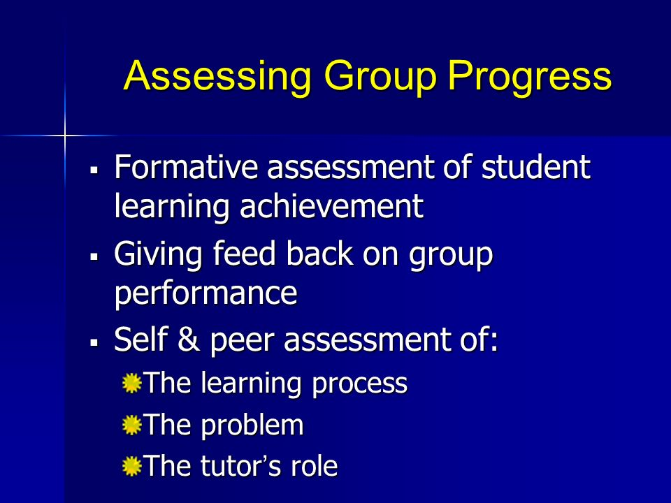Assessing Group Progress
